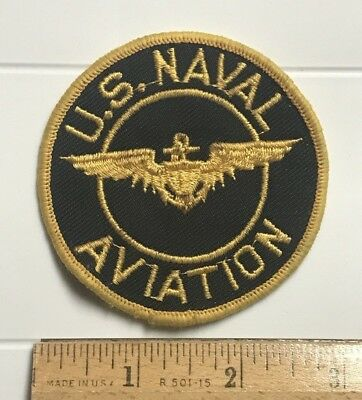 """US Naval Aviation Flight Wings USN US Navy 3"""" Round Embroidered Patch"""