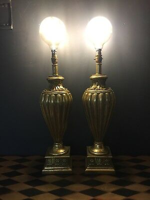 Pair Of Large Matching Vintage Gold Table Lamps Regency Rococo Style Light 70 Cm