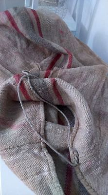 Antique vintage GRAIN SACK feedsack  feedbag Red-black stripes hemp linen
