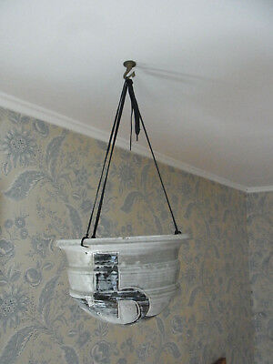 1970s VINTAGE HAND THROWN POTTERY HANGING PLANTER