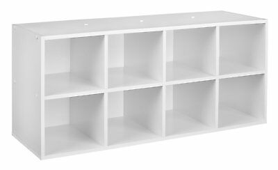 Shoe Organizer 8 Cubby Stackable Organized Storage In White Laminated Wood  NEW