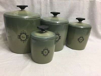 Vtg Mid Century West Bend Avocado Aluminum Canister Set In Euc For The Age