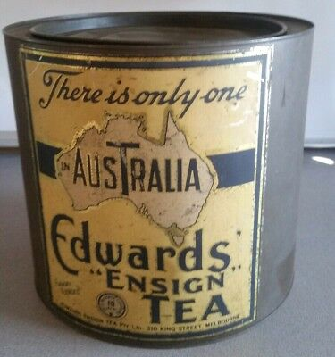 Vintage Edwards Ensign Tea Tin 10 lbs 'There's only one T In Australia'