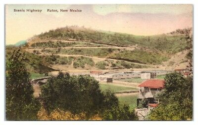 Scenic Highway, Raton, NM Hand-Colored Postcard