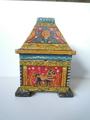"""Vintage Kashmir Paper Mache Dowry Box, Temple Shaped 5"""" Square with Animals"""