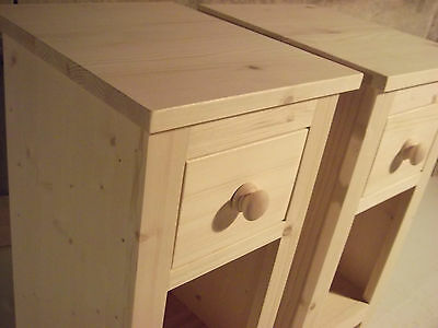 Pair of Narrow/Slim Solid Pine Bedside Cabinets (untreated) 27cm