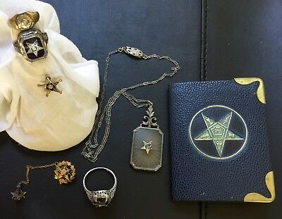 Lot of Order of the Eastern Star Jewelry, Ca. 1950, 3 Rings, 2 Pins, 1 Necklace