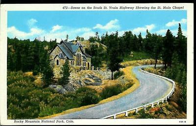 Vintage Postcard of the St. Malo Chapel  and South St. Vrain Highway, Colorado