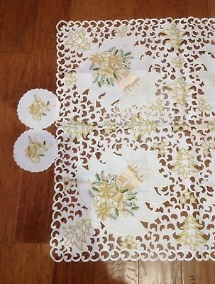 Golden Candles/Bells/Trees Embroidered With Cutwork On Ivory Table Topper-NWOT