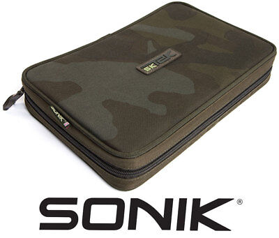 Sonik SK-TEK Rig And Bits Wallet Carp Fishing Rigid Siff Hair Rig Pouch Camo