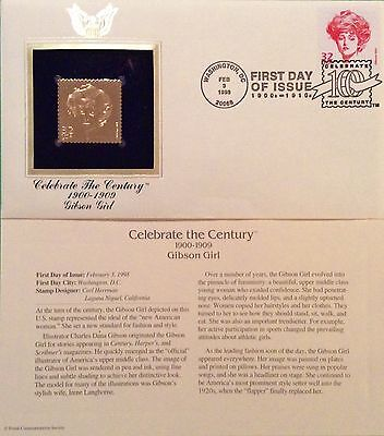 """Gibson Girl  """"Celebrate The Century"""" 1900s 22KT Gold Replica FDC"""