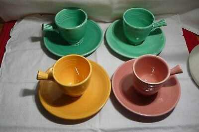 4 Fiestaware Demitasse Cups Saucers - Vintage And New! Green Pink Yellow