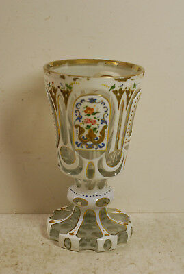 Bohemian cut glass overlay chalice, white to clear, 29 ozs, German, circa 1880