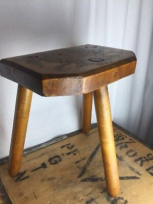 Vintage Three Legged Folk Carved And Painted Stool Rustic Wooden