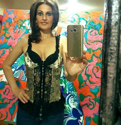Vintage Beige and Black Brocade Lace Burlesque Cabaret Corset top