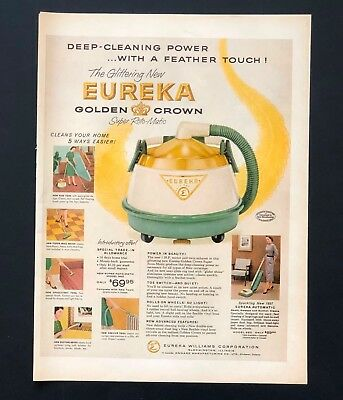 1957 Eureka Golden Crown Vacuum Advertisement Cleaning Photo Vintage Print AD