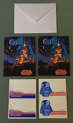 Rare Star Wars 1977 2 Greeting Cards Stickers sets & 2 SW Hildebrandt Note Cards