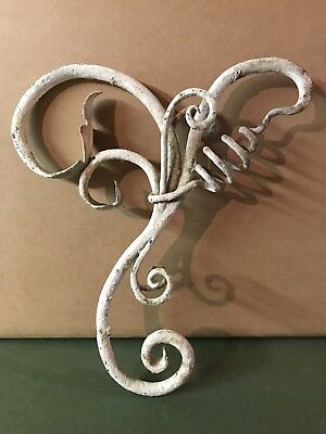 Antique Hand Wrought Cast Iron Architectural Wall Decor Estate Shabby