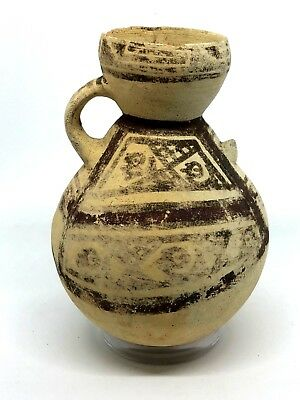 Pre-Columbian  Painted Chancay Pottery Bottle, Ca Ad 1000-1470
