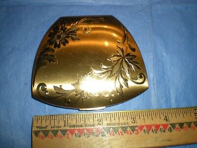Vintage Elgin American Etched Brass Powder Mirror Compact