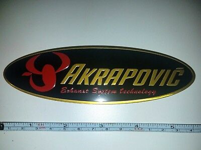"""Akrapovic 5.5"""" Oval Metal Exhaust Decal Pipe Racing Sticker Heat Resistant Logo"""