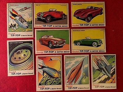 Lot of 9 1954 Tip-Top Bread Space Cards and Sports Car Cards Tip Top Space Cards