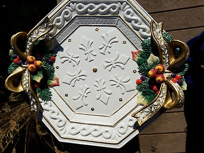 """FITZ & FLOYD HOLIDAY/CHRISTMAS 12"""" x 11"""" DECORATIVE PLATE or WALL HANGING"""