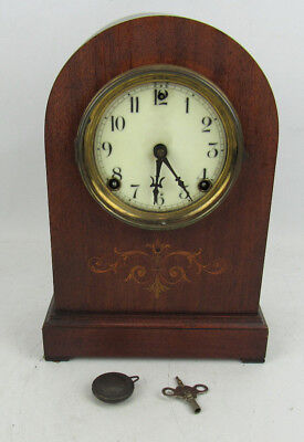 Antique Sessions Mantel Shelf Clock For Parts Or Restoration Marquetry Case