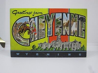 Vintage Postcard Greetings From Cheyenne Wyoming WY Large Letter E.C. Kropp