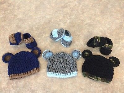 Crochet Hat & Booties Shoes Lot Set 3 newborn - 3 month baby Boy Bear Photo Prop