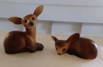 Vintage Pair Of Ceramic Deer Figurines/ Mother And Fawn