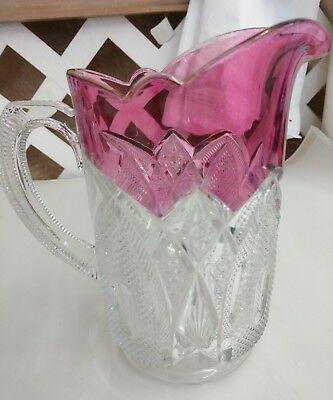 Antique Glass Pitcher with Cranberry Flash - 1880's
