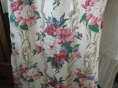 Lovely Vintage Barkcloth Curtain Panel~Pink Peonies~