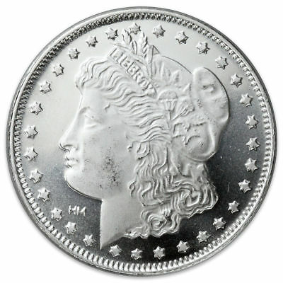Morgan $ Designed after with 1 Troy Oz .999 Fine Solid Silver Round /Mint (B.U.)