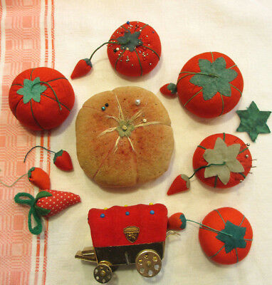 Lot of Vintage Tomato & Wagon shaped Pin Cushions and misc Strawberry sharpeners