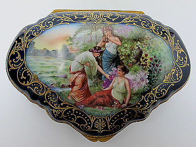 Lg Antique Handpainted Porcelain Dresser Box Chateau De L' Hermitage Excellent