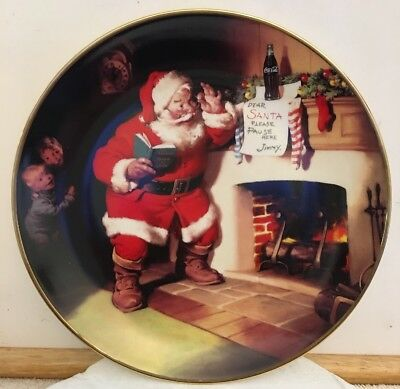 Franklin Mint Coca Cola Santa Plate The Pause That Refreshes Limited Edition