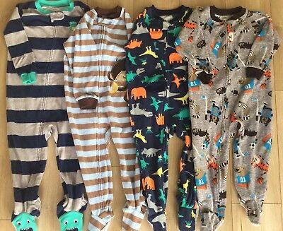 7cbbf6c60375 LOT OF 4 Carters Boys 2T 24 Mo Fleece Footed Pajamas Sleepwear PJS ...
