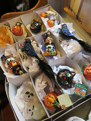 LOT of 15 OWC HALLOWEEN Old World Christmas_Glass Ornaments+Light Covers_box_NEW