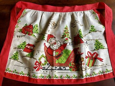 Vintage Linen Christmas Apron Bright Red Santa In Sleigh 1950's