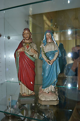 Vintage religious icon statues Mary and The Sacred Heart Statue of Jesus Christ