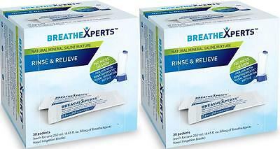 2x BreatheXperts Rinse & Relieve Mineral Saline Mixture 60 packets* Exp.03/2020
