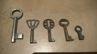 Lot of 5 Real Antique Old Brass Skeleton Keys From Portugal and Spain - Vintage