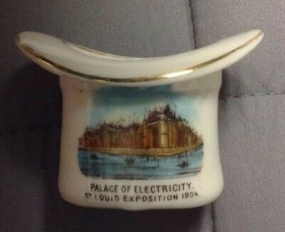 St. Louis Exposition 1904, Palace of Electricity, White And Gold China Souvenir