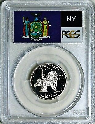 2001-S New York State Quarter Pr69Dcam Pcgs Clad - Flag - Free Shipping