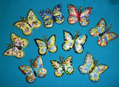 Clearance-24 Hand Carved Painted Double Side Wooden Butterfly Pendant Beads