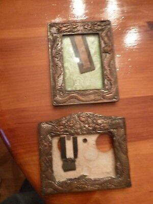 Vintage Copper Plated Relief Small Picture Frame Dragons Lot of 2
