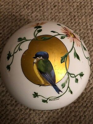 Baccarat Glass Oil Lamp Shade Dome Globe Hand Painted Bird Antique