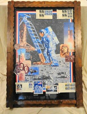 """Vintage NASA First Man on The Moon Poster with Stamps Framed & More 29"""" x 41"""""""