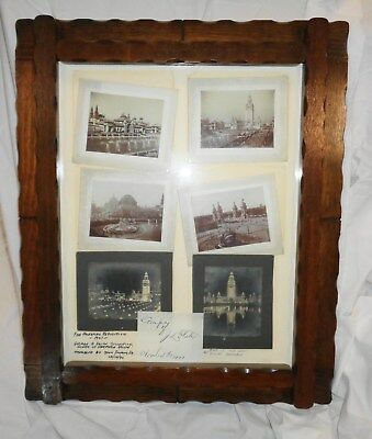 "Vintage Assortment of 1901 Pan American Exposition Photos Framed 21"" x 25""  LOOK"